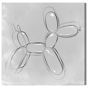 'Balloon Dog Minimal' Drawing Print on Wrapped Canvas by Oliver Gal