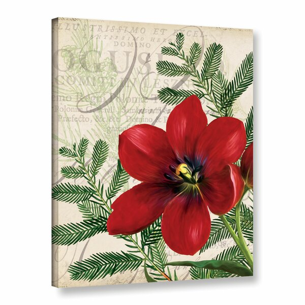 Vintage Noel Floral Graphic Art on Gallery Wrapped