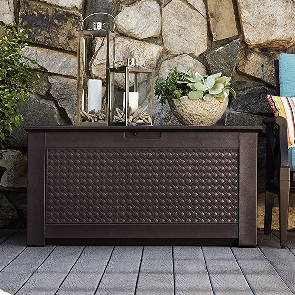 Patio Chic 93 Gallon Resin Deck Box by Rubbermaid Rubbermaid
