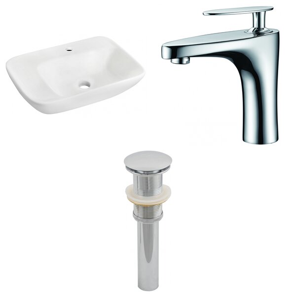 Ceramic 23.5 Wall-Mount Bathroom Sink with Faucet by Royal Purple Bath Kitchen