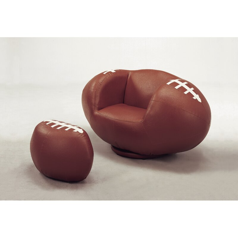 Etonnant Football Kids Faux Leather Chair And Ottoman