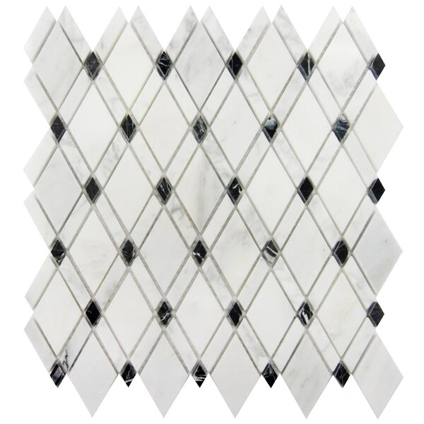 Lattice 1 x 2 Marble Mosaic Tile in Oriental White/Black by Luxsurface
