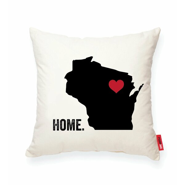 Pettry Wisconsin Cotton Throw Pillow by Wrought Studio