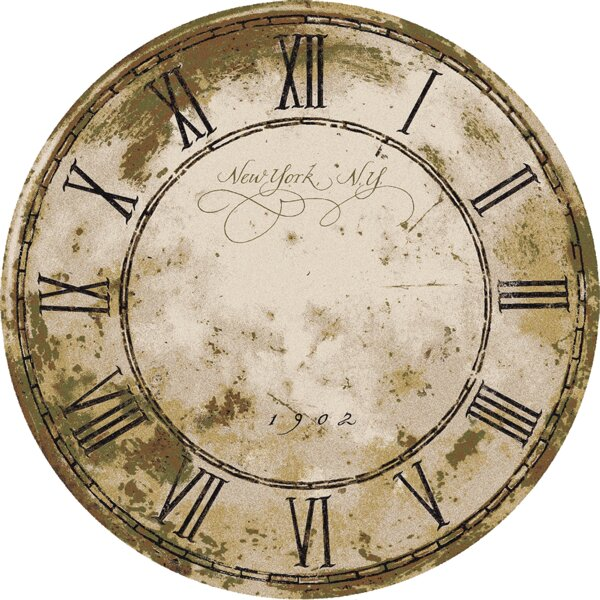Novelty New York Clock Distressed Beige Area Rug by American Dakota