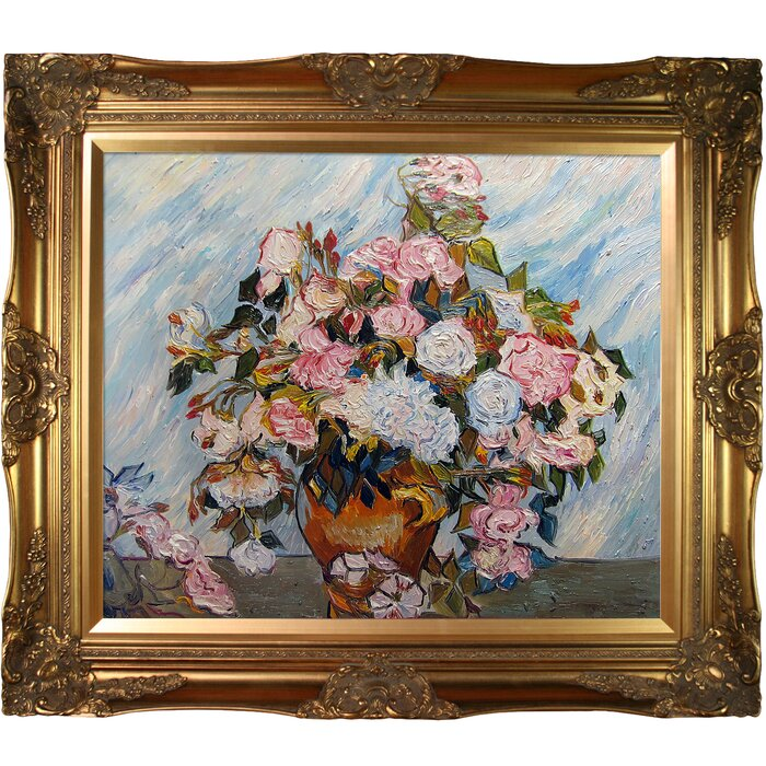 Tori Home Still Life Vase with Roses by Vincent Van Gogh Framed Hand ...