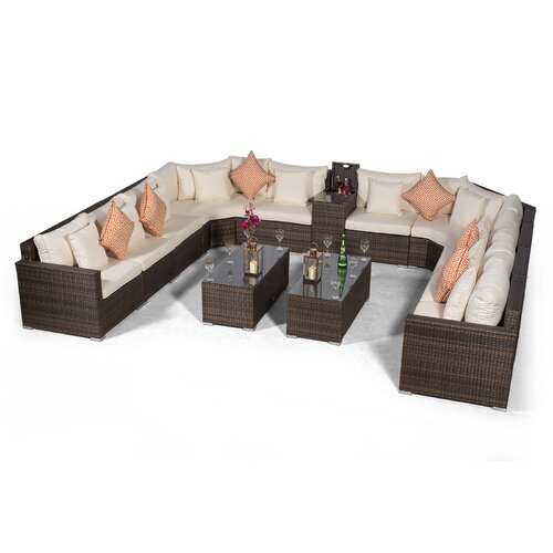 Villasenor Brown Rattan U Shape 10 Seat Sofa With 2 X Rectan