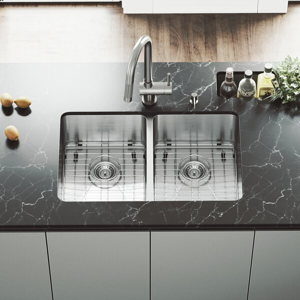 29 inch Undermount 50/50 Double Bowl 16 Gauge Stainless Steel Kitchen Sink with Gramercy Stainless Steel Faucet, Two Grids, Two Strainers and Soap Dispenser by VIGO