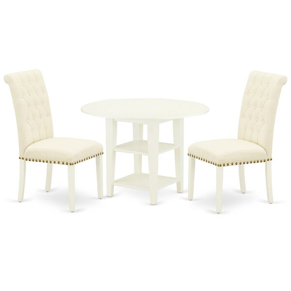 Bobby 3 Piece Drop Leaf Solid Wood Dining Set by One Allium Way One Allium Way