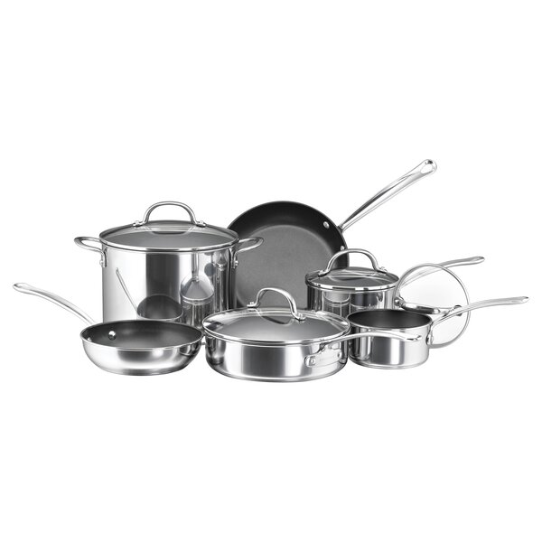 10-Piece Non-Stick Stainless Steel Cookware Set by Farberware