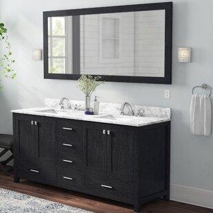 Raishon 72 Double Bathroom Vanity Set with White marble and Mirror ByWilla Arlo Interiors