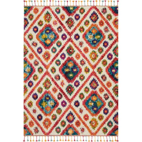 Wayne Moroccan Tribal Ivory/Red Area Rug by Bungalow Rose