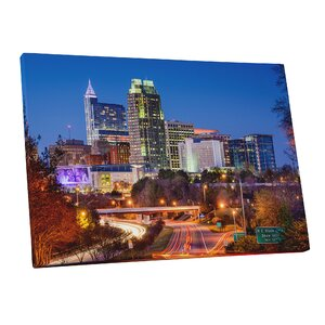 'City Skylines Raleigh North Carolina at Night' Photographic Print on Wrapped Canvas by Pingo World