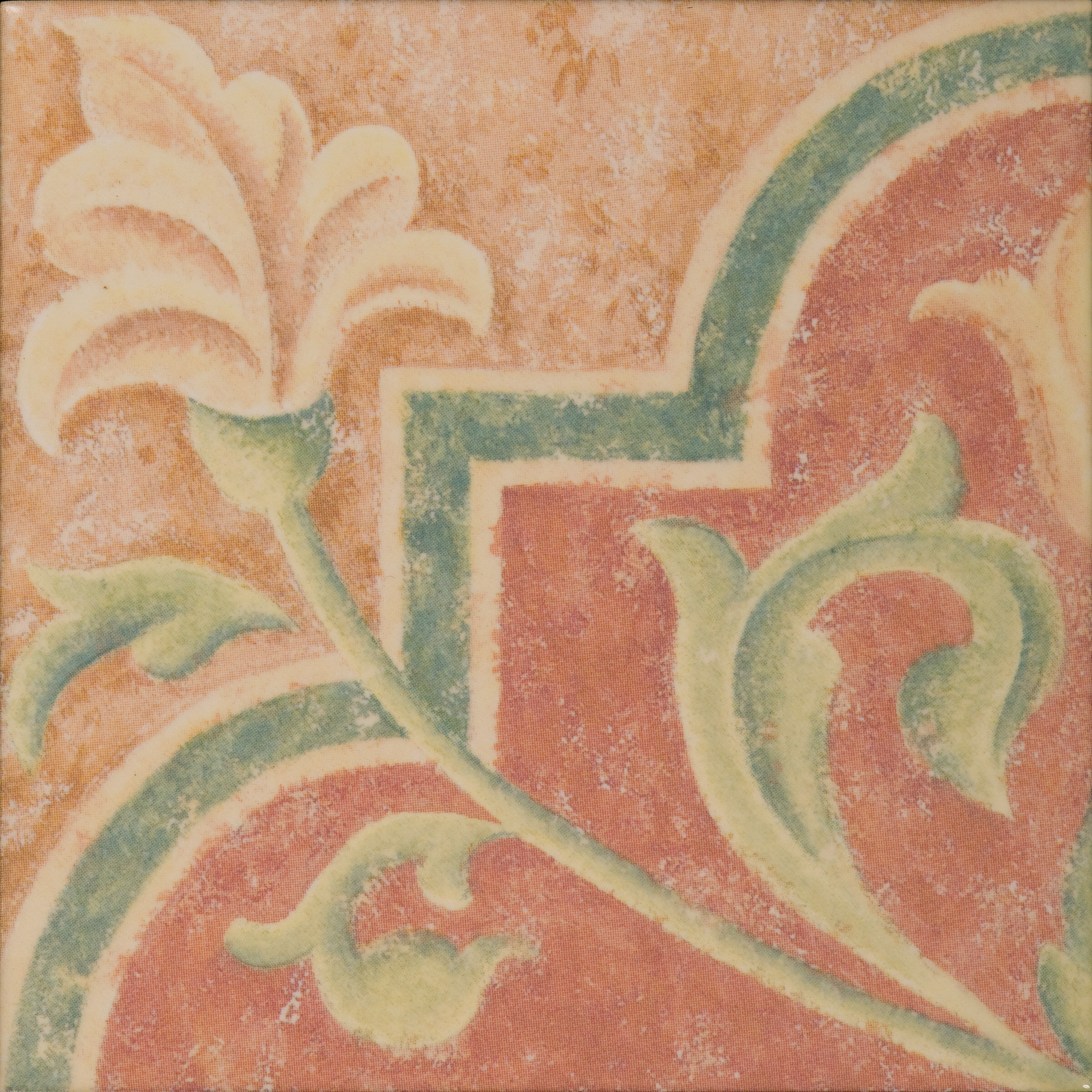 Mediterranean 4 X 4 Ceramic Terracotta Fresco Decorative Accent Tile In Brown Red