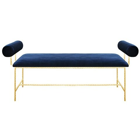 Bolster Arm Upholstered Bench by Worlds Away