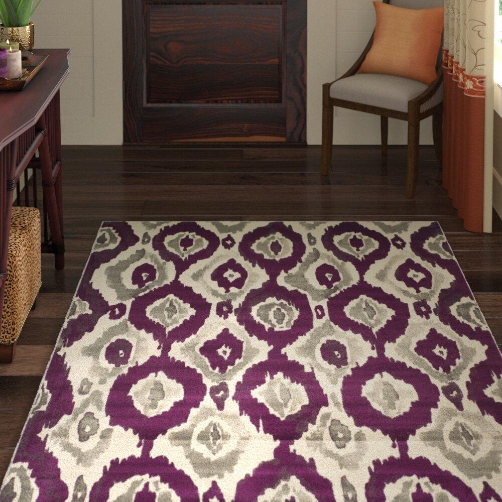 World Menagerie Deasia Ivory Purple Area Rug Reviews Wayfair