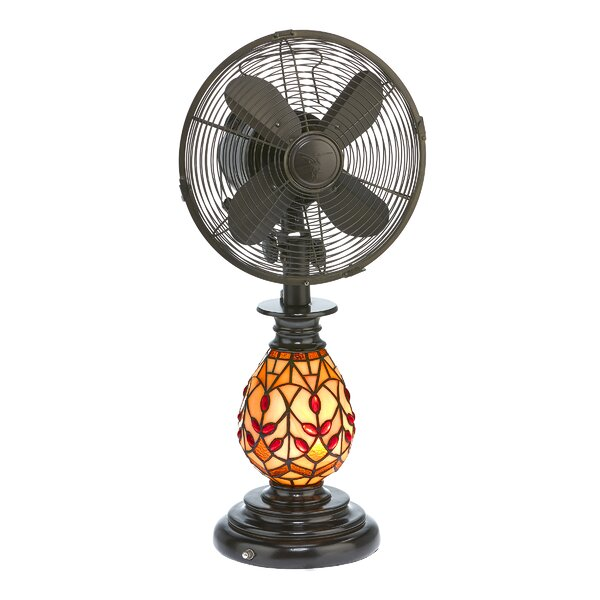 Piland Tiffany Oscillating Glass Table Fan with Lamp by Astoria Grand