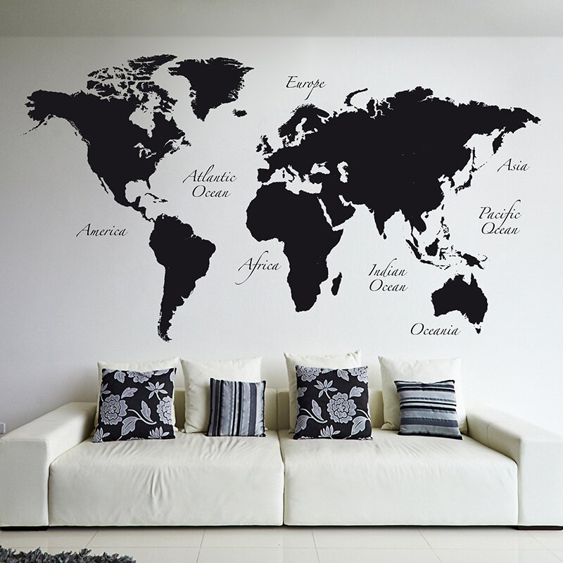 World Map Wall Decal : world map decal for wall - www.pureclipart.com