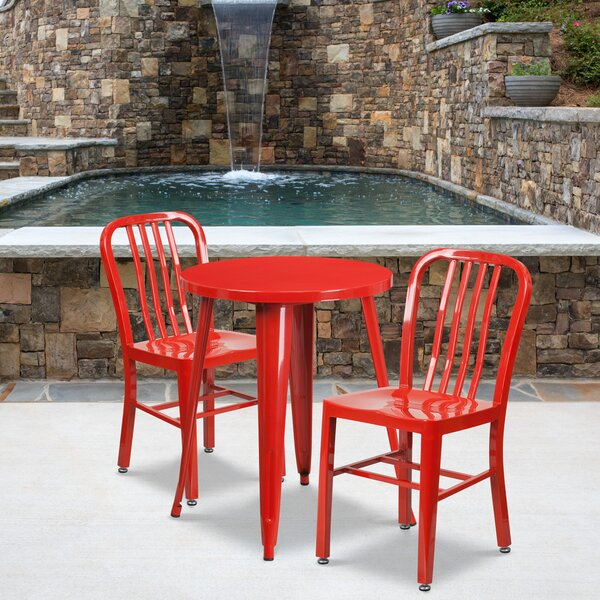Alston Metal Indoor/Outdoor 3 Piece Dining Set by Latitude Run