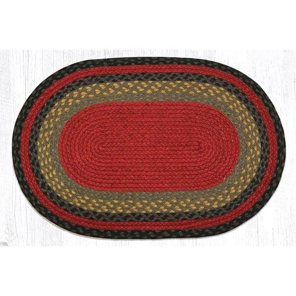 Burgundy/Olive/Charcoal Braided Area Rug by Earth Rugs