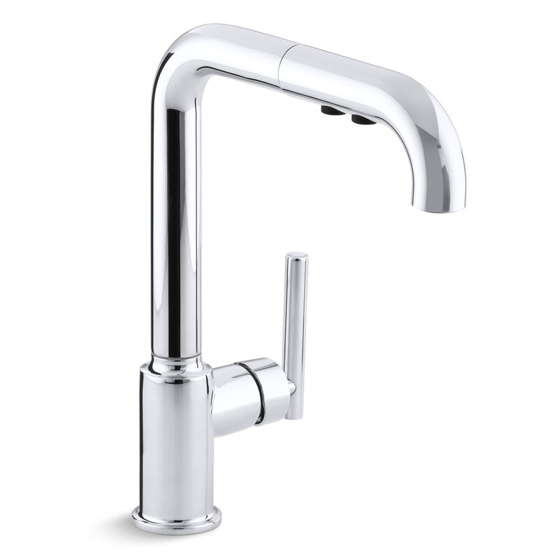 "Kohler Purist Single-Hole Kitchen Sink Faucet With 8"" Pullout"