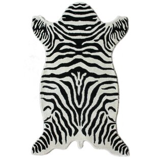 Safari Hand-Tufted Wool Zebra White Area Rug nuLOOM