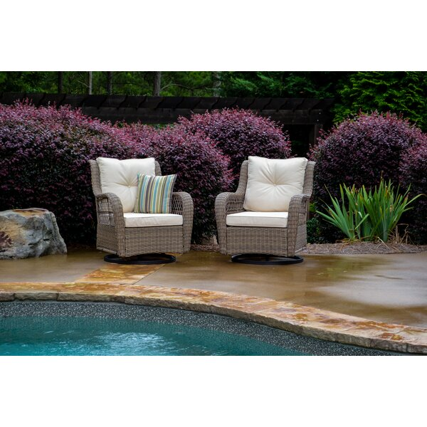 Lenita  Swivel Patio Chair with Cushions (Set of 2) by August Grove