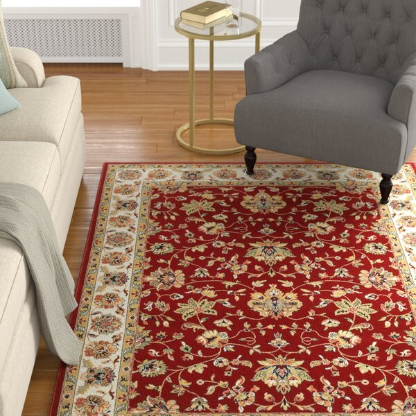 Knighten  Red/Ivory Area Rug by Astoria Grand