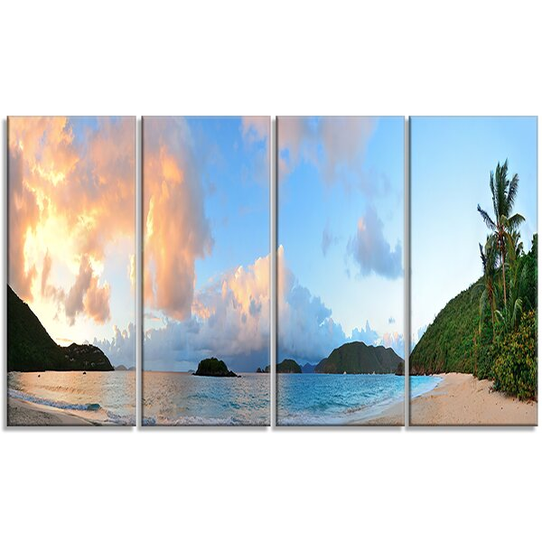 Beach Sunset with Clouds - Landscape 4 Piece Photographic Print on Wrapped Canvas Set by Design Art