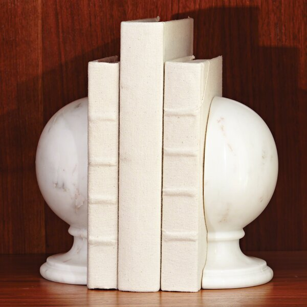 Decorative Marble Sphere Book Ends by House of Hampton