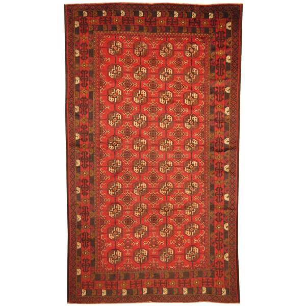 Prentice Hand-Knotted Red Area Rug by Isabelline