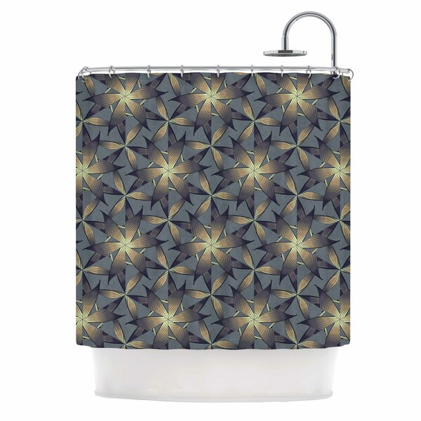 Angelo Cerantola Copper Flowers Illustration Shower Curtain by East Urban Home