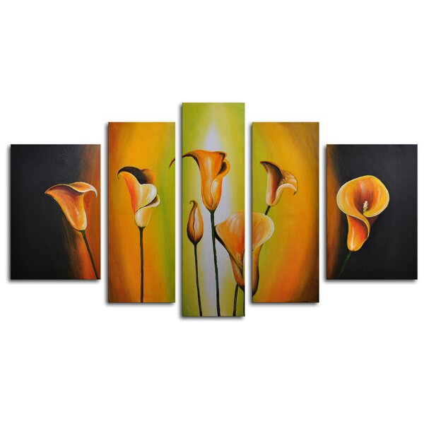 Lilies By Evening Light 5 Piece Painting on Canvas Set by My Art Outlet