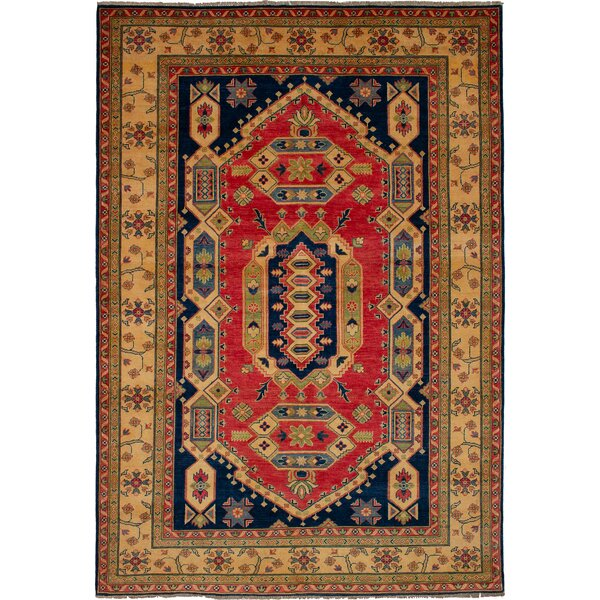 One-of-a-Kind Bernard Hand-Knotted Wool Copper/Navy Area Rug by Bloomsbury Market