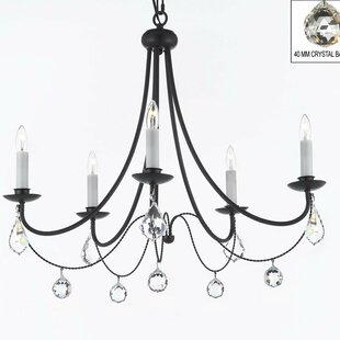 Plug in chain swag lights wayfair clemence 5 light black candle style chandelier with chain and wire aloadofball