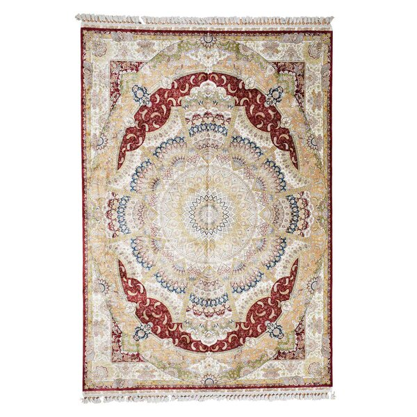 One-of-a-Kind Gurrola Silken Esfahan Oriental Hand-Knotted Silk Red Area Rug by World Menagerie