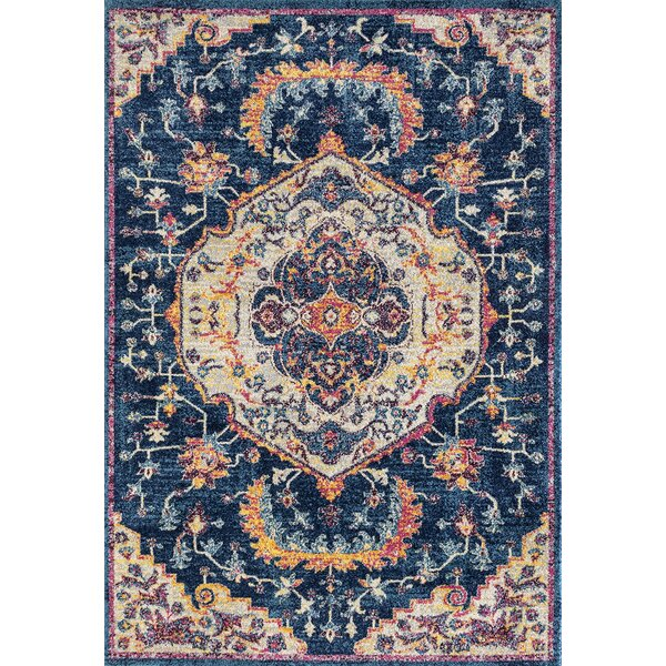 Diep Blue/Ivory Area Rug by Bungalow Rose
