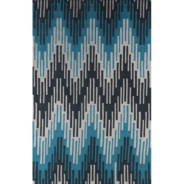 Flanary Hand-Tufted Frost Gray/Teal Area Rug by Bloomsbury Market