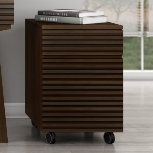 Tango 2 Drawer Mid Century Modern Rolling Pedestal Vertical File by Furnitech