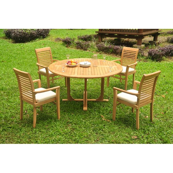 Freelon 5 Piece Teak Dining Set by Rosecliff Heights