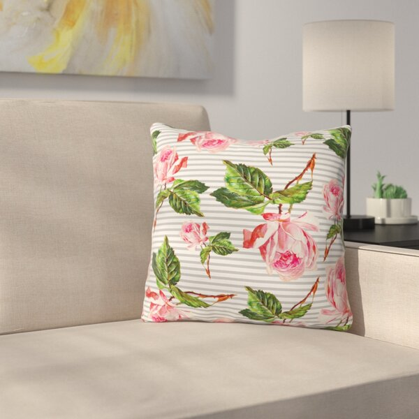 Roses and Stripes Indoor/outdoor Throw Pillow by East Urban Home