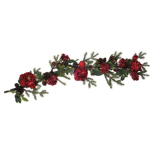 Artificial Peony / Hydrangea / Berry / Pine Garland by House of Silk Flowers Inc.