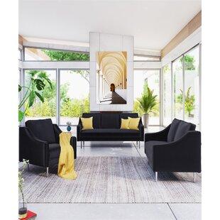 Veli 4 Piece Velvet Living Room Set by Everly Quinn