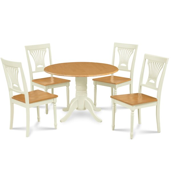 Ademar 5 Piece Drop Leaf Solid Wood Dining Set By August Grove