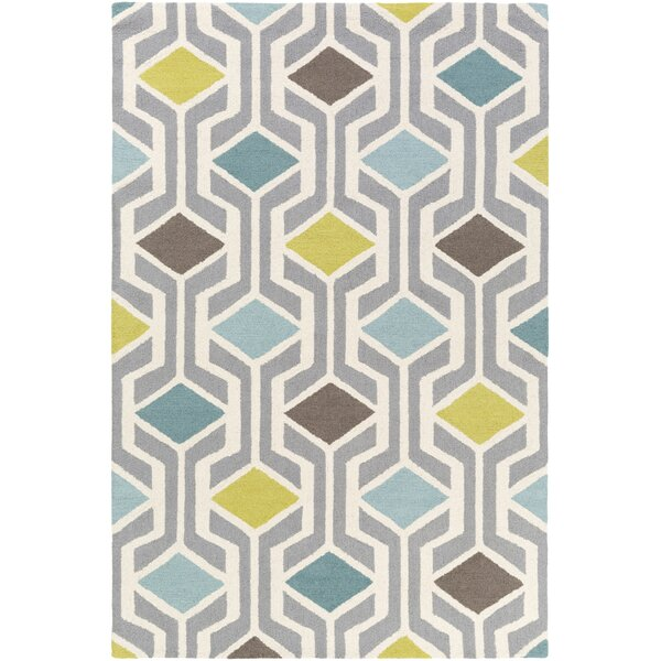 Younkin Hand-Crafted Teal/Aqua Area Rug by George Oliver