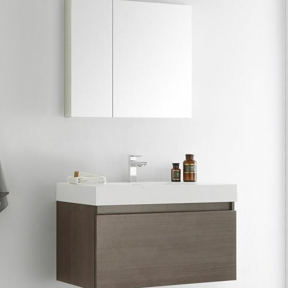 Senza 36 Mezzo Single Wall Mounted Modern Bathroom Vanity Set with Mirror by Fresca