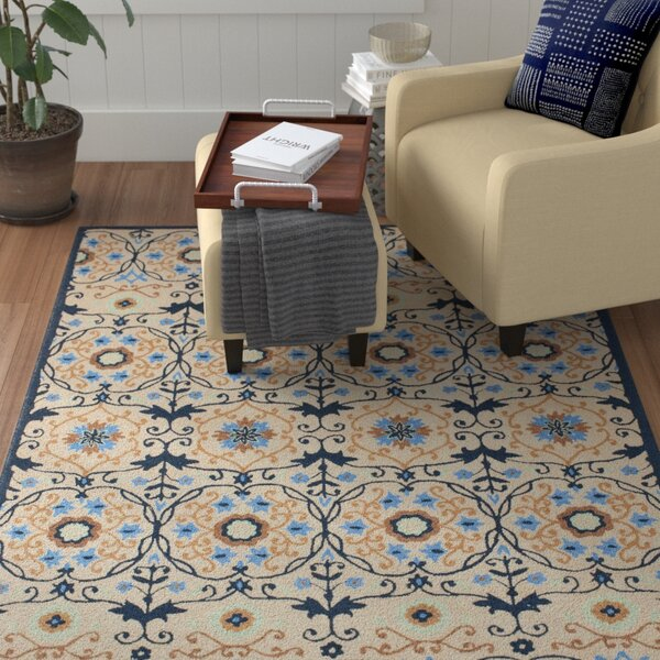 Marquardt Ivory/Navy Area Rug by Red Barrel Studio