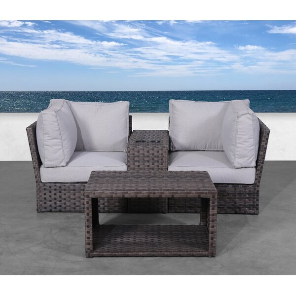 Cochran 4 Piece Rattan 2 Person Seating Group with Cushions by Rosecliff Heights