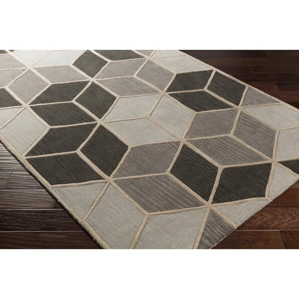 Vaughan Hand-Tufted Geometric Gray Area Rug by Wrought Studio