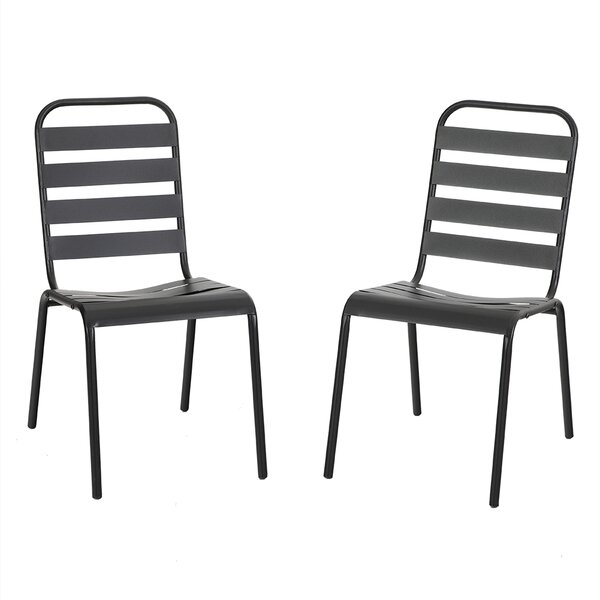 Pradnya Stacking Patio Dining Chair (Set of 2) by Latitude Run