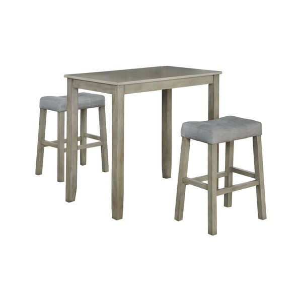 Alejandra 3 Piece Solid Wood Dining Set by Ophelia & Co.